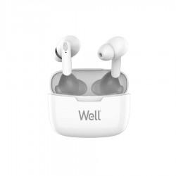Ακουστικό In-ear Bluetooth V5.0 True Wireless w/Docking station Λευκό Well BOOSTWE-WL.