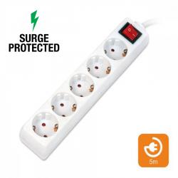 OMEGA Πολύπριζα Προστασίας 5θ με Διακόπτη 5M Λευκό OL5G5W