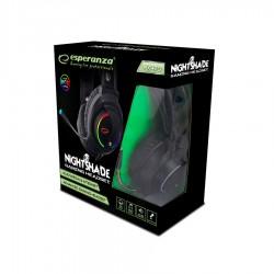 Nightshade Ακουστικό με μικρόφωνο gaming Μαύρο με φωτισμό RGB EGH470