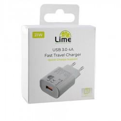 Universal USB 3.0 Fast Travel Wall Charger QC 3.0 4000mA 5V-9V-12V Λευκό Lime LTU24