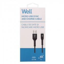 Καλώδιο USB 2.0 σε Micro USB Φόρτισης - Data 1m 2.1A Μαύρο Well USB/UUSB-1BK01-WL
