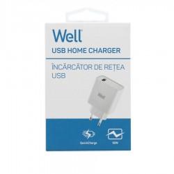 Universal USB Fas Travel Wall Charger QC 3.0 18W 3000mA Λευκό Well PSUP-USB-WQ11801WE-WL
