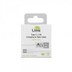 Καλώδιο Type C Long σε USB 2.4A Φόρτισης - Data 1m Λευκό LUC01 Lime