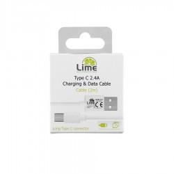 Καλώδιο Type C Long σε USB 2.4A Φόρτισης - Data 2m Λευκό LUC02 Lime