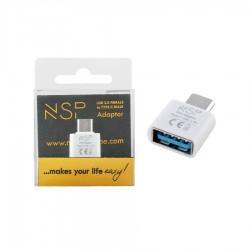 Μετατροπέας USB 3.0 OTG 2.4A FEMALE ΣΕ TYPE C MALE WHITE NSP
