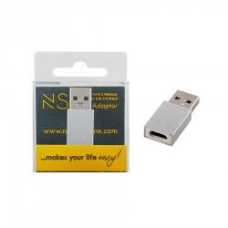 Μετατροπέας LONG TYPE C FEMALE ΣΕ USB 3.0 MALE 2.4A SILVER NSP