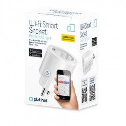 Smart Home Wi-Fi Socket Uni-Schuko 3680W 16A Free Android & IOS app Platinet PSHP16AW