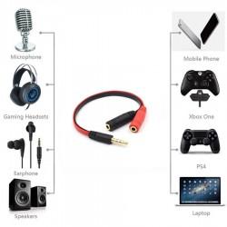 Headset Adapter 3.5mm 4-pin Stereo Splitter Audio (M) to Mic & Headset Jack (F)