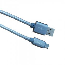 Καλώδιο Φόρτισης - Data Micro USB 2m  2.4A Μαύρο/Ασημι  S-51