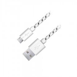 Καλώδιο φόρτισης  EB181W 2m Esperanza fabric braided  άσπρο Micro USB