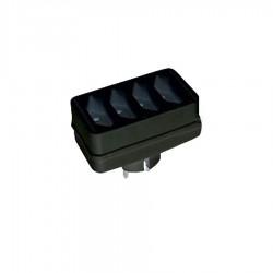 Αντάπτορας Ρεύματος 4xEuro Μαύρο 04.3018 COM